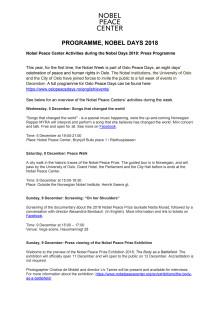 Press Programme Nobels Days 2018