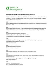 Milstolpar i Svenska Retursystems historia