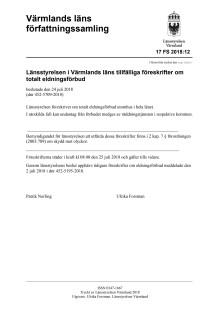 Föreskrift om totalt eldningsförbud i Värmlands län