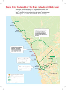 Karta över hur linje 8 går när Drottninggatan är helt avstängd
