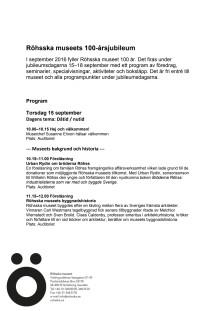 Röhsska museets jubileumprogram