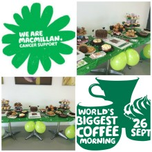 Finegreen supporting Macmillan Cancer support 'World's Biggest Coffee' morning today!