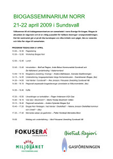Program Biogasseminarium 21-22 april Sundsvall
