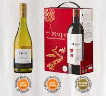 Best Value-medaljer till Trio Chardonnay och Viña Maipo Cabernet Sauvignon