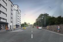 Vi bygger om för säkrare trafik och förnyar vattenledningar på Drottninggatan vid Fria bad