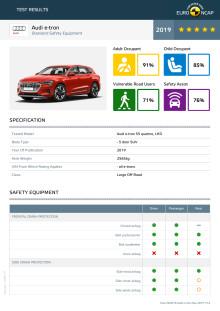 Audi e-tron Euro NCAP datasheet May 2019