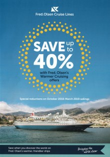 Only two weeks left to take advantage of up to 40% off winter sailings with Fred. Olsen's 'Warmer Cruising' campaign
