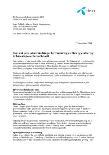 Brev til SD om lokale hindringer for framføring av fiber og etablering av basestasjoner