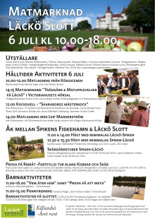 Detaljerat program matmarknad Läckö Slott 6 juli