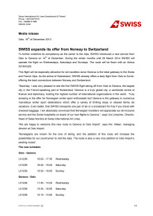Media release - SWISS expands offer from Norway to Switzerland