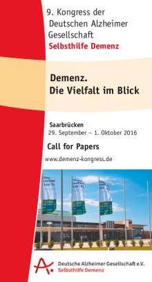 """""""Demenz. Die Vielfalt im Blick"""" - 9. Kongress der Deutschen Alzheimer Gesellschaft, 29.9.-1.10.2016 in Saarbrücken"""