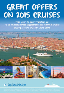 Fred. Olsen Cruise Lines launches tempting new offers for singles and free door-to-door transfers on selected 2015 cruises