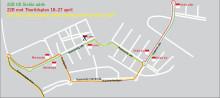Annan körväg för ersättningstrafiken 22B och 22G Sickla udde - Gullmarsplan under perioden 18-27 april