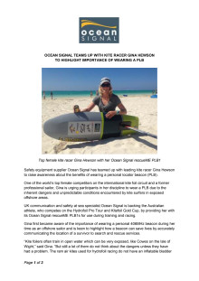 Ocean Signal Teams Up with Kite Racer Gina Hewson to Highlight Importance of Wearing a PLB