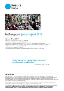 Resurs Bank delårsrapport jan–juni 2016
