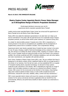 Mastry Engine Center Appoints Electric Power Sales Manager as it Strengthens Range of Electric Propulsion Solutions