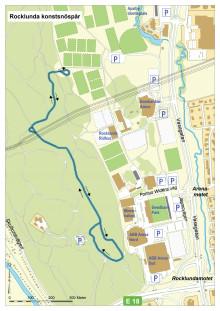 Karta som visar Rocklunda konstsnöspår
