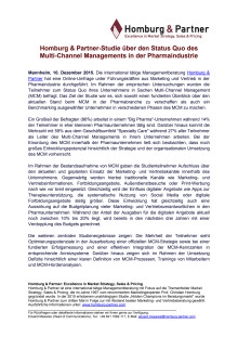 Homburg & Partner-Studie über den Status Quo des Multi-Channel Managements in der Pharmaindustrie