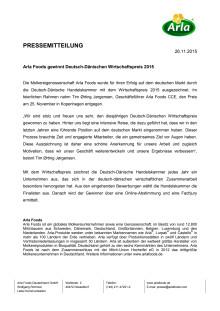 Arla Foods gewinnt Deutsch-Dänischen Wirtschaftspreis 2015