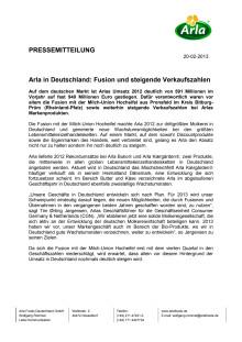 Arla Foods Geschäftsergebnis Deutschland und Niederlände