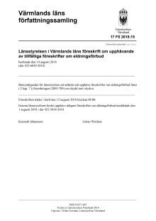 Föreskrift om upphävande av eldningsförbud