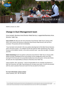 Change in Duni Management team