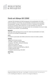 Förstå och tillämpa ISO 22000