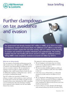 HMRC Briefing - Further clampdown on tax avoidance and evasion