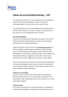 Fakta om provrörsbefruktning, IVF-behandling