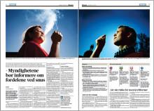 Myndighetene bør informere om fordelene ved snus