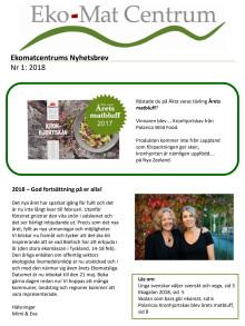 Ekomatcentrums nyhetsbrev 2018 nr 1