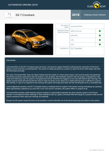 Automated Driving 2018 - DS 7 Crossback datasheet - October 2018