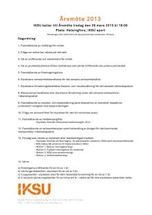Kallelse och dagordning årsmöte  2013