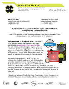 ACR Electronics OLAS Guardian Wireless Engine Kill Switch Named Boating Industry Top Product of 2020