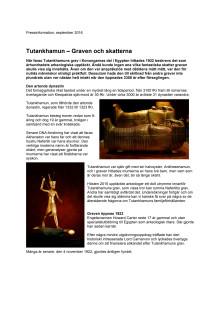 Pressinformation ''Tutankhamun – graven och skatterna''