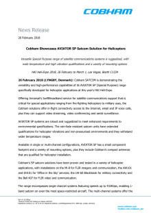 Cobham Showcases AVIATOR SP Satcom Solution for Helicopters