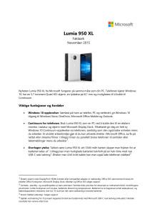 Faktaark og spesifikasjoner Lumia 950 XL