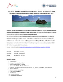 Mauritius stärkt stationären Vertrieb durch zweite Roadshow in 2019