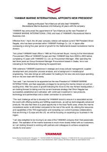 YANMAR MARINE INTERNATIONAL Appoints New President