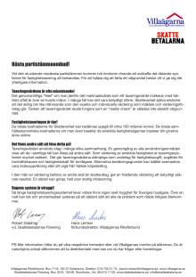 Villaägarnas Riksförbunds och Skattebetalarnas Förenings gemensamma brev till ombuden på den kommande moderata partistämman i Västerås, 27-30 augusti