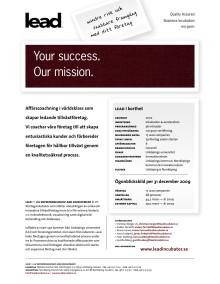 LEAD - kort information om företagen och vår verksamhet.