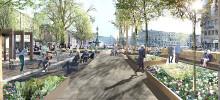 Mer ljus, sittplatser och planteringar i Brunnsparkens nya form
