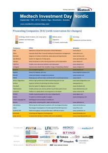 Utställande företag - Medtech Investment Day Nordic 2012