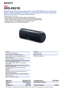 Datenblatt Wireless Speaker SRS-XB21 von Sony