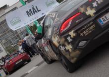 Laddad målgång i Hyllie för Oresund Electric Car Rally 2014