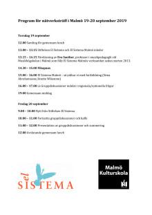 Program nätverksträff i Malmö