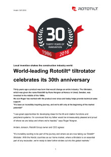 World-leading Rototilt® tiltrotator celebrates its 30th anniversary
