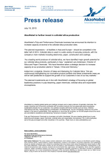 AkzoNobel to further invest in colloidal silica production