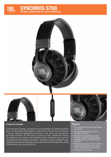 Specification Sheet JBL Synchros S700