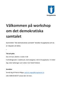 Välkommen på workshop om det demokratiska samtalet